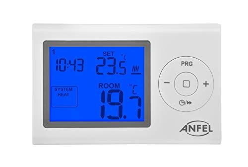 Cronotermostato Digitale Settimale LCD a batteria - Bianco DISPLAY GRANDE Blue CDE-7XL ANFEL EASY 7XL