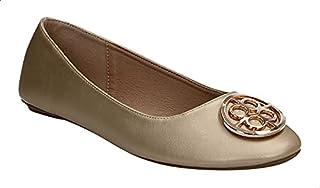 Dejavu Faux-Leather Metal Detail Flat Ballerina Shoes for Women