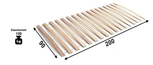Jugendmöbel24.de Rollrost Rolly 2 90 * 200 cm 17 Feder-Holzleisten Birke massiv für Kinder Spiel Etagen Stock Hochbett Lattenrost