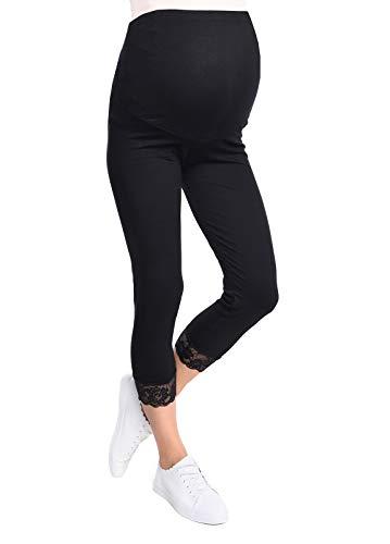 Mija - Umstandsleggings für Schwangere Capri 3/4 Hose Leggings 3005 (XL, Schwarz)