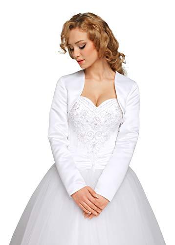 Nina Brautmoden Brautjacke Bolero Jacke für Hochzeit/Brautkleid aus Satin Gr S bis 4XL - E6 (XL, weiß)