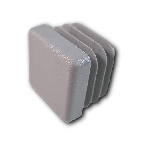 20 tapas, gris, para tubos cuadrados dimensiones exteriores 20x20 mm