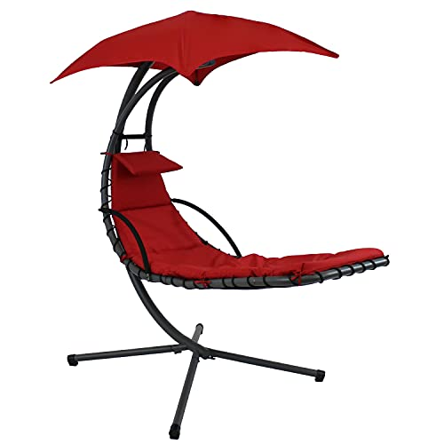 Sunnydaze Floating Chaise Lounger Swing Chair with Umbrella Canopy - Curved Steel Hammock Lounge Chair with Cushion and Pillow - Removable Cushion and Umbrella Shade - 82-Inch Tall - Red