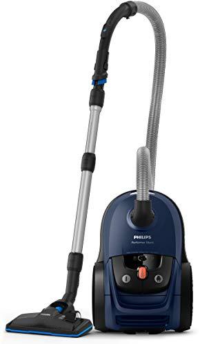 Philips Performer Silent Aspirador con Bolsa, 650 W, 4 litros, 66 Decibelios, Plástico, Azul
