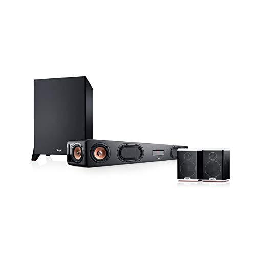 Teufel Cinebar Ultima Surround Power Edition 4.1-Set Schwarz / Schwarz-Weiß Soundbar Bluetooth mit aptX HDMI Surround Kino - Sound Speaker