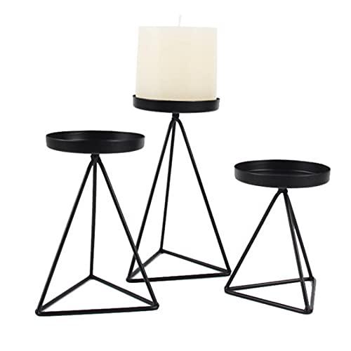Hongruida - Set di 3 candelabri geometrici a tre angoli, decorazione per la casa (colore: Nero)