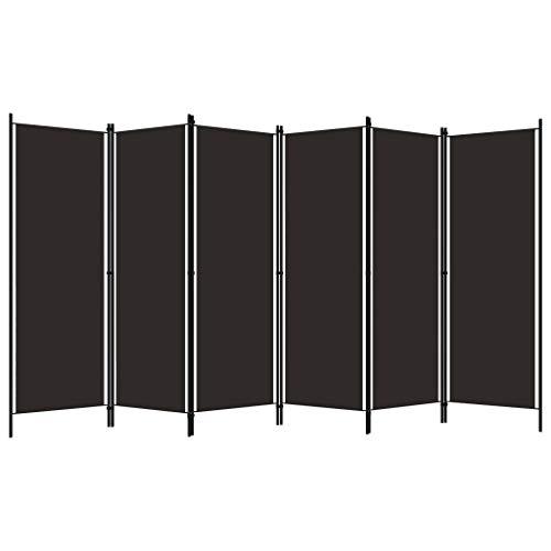 Ausla Biombo separador de 6 paneles, 300 x 180 cm, de hierro con recubrimiento en polvo y tela, color marrón