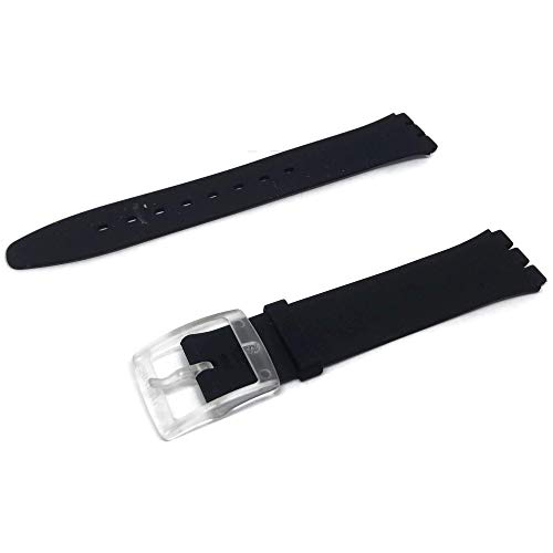 Authentic Swatch Watch Strap Black Classiness Skin 16mm