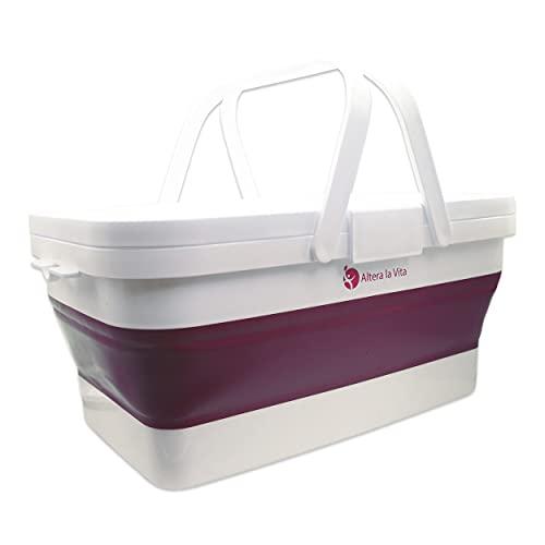 Altera la Vita Cesta de picnic plegable con tapa y mesa plegable, 15 litros, impermeable, para camping, senderismo, caravana