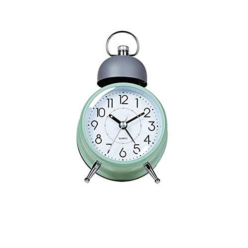 Reloj despertador de cuarzo silencioso con doble campana, chapado en metal plateado con luz nocturna