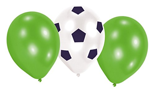 Amscan 9903017 - Latexballons Kicker Party, 6 Stück, Luftballons, Fußball
