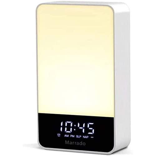 Qqfubu Luz de Despertador de Alarma, Luces de 7 Colores de la lámpara de Mesa, Control táctil Inteligente, Manos Libres y luz de Giro automática, para Regalos de Dormitorio