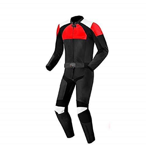 LEATHERAY - Traje de moto de piel auténtica para hombre con protección de armadura, color negro, XS-5XL