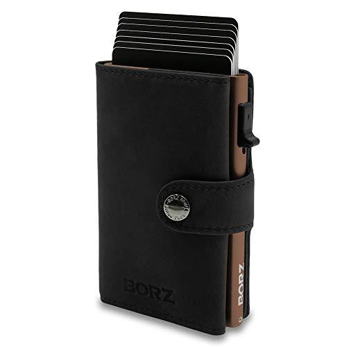 NEU: BORZ Prime ® MAXUS Mini Wallet Herren Damen (mit Kartenfach) | Slim Wallet Credit Cardholder | Kreditkartenetui | RFID Schutz | Premium Geldbörse | Geldbeutel für Karten & Scheine Echtes Leder