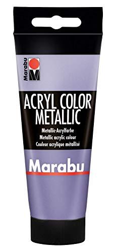Marabu 12010050750 - Acryl Color metallic violett 100 ml, cremige Acrylfarbe auf Wasserbasis, schnell trocknend, lichtecht, wasserfest, zum Auftragen mit Pinsel und Schwamm auf Leinwand