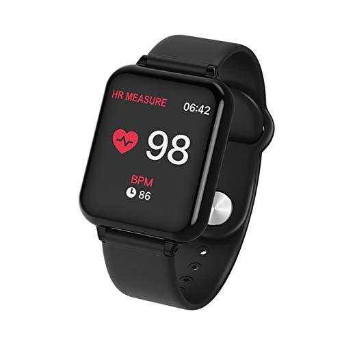 LYB Reloj inteligente deportivo resistente al agua Dwaterproof Android reloj femenino masculino reloj inteligente con frecuencia cardíaca presión arterial Smartwatch (color: negro)