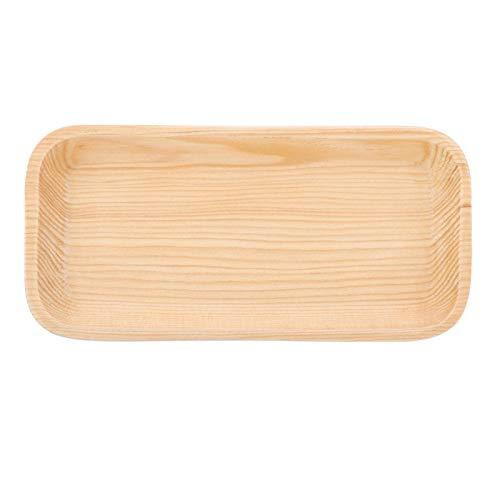 Bandeja de madera para servir, platos pequeños de madera, platos de madera natural para servir, soporte antideslizante para alimentos/platos para barbacoa/buffet para fiestas, rectángulo(16.5*8*1.8CM)
