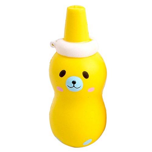 Yimosecoxiang, bottiglia da spremere portatile da cucina, a forma di orso, per bambini e adulti Yellow
