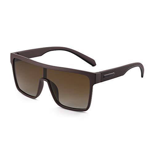 GLINDAR Gafas de Sol con Protección Polarizada Para Hombre Gafas Deportivas con Parte Superior Plana y Cuadrada Marco Café / Lente Marrón