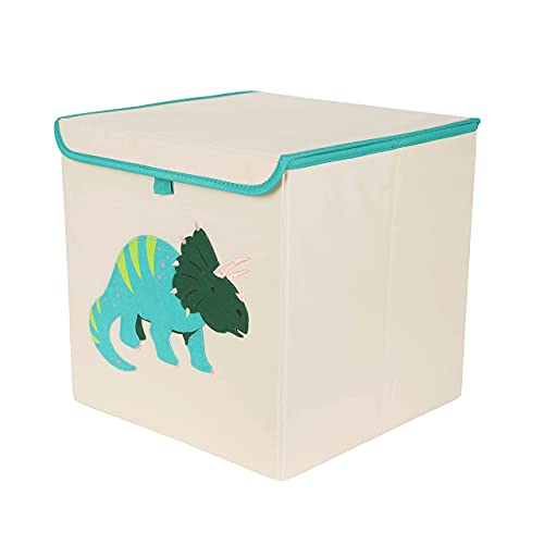 GREEHOMEDE Storage Cube Bins with Lid, Foldable Animal Kids Storage Boxes, Organizer Basket for Kids Clothes, Toys & Books, 13'x13',Dinosaur Pattern