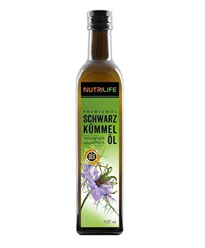 Nutrilife - Schwarzkümmelöl 500ml - 100% pur, ungefiltert, kaltgepresst, vegan - Frischegarantie: täglich mühlenfrisch vom Hersteller aus echten ägyptischen Schwarzkümmelsamen