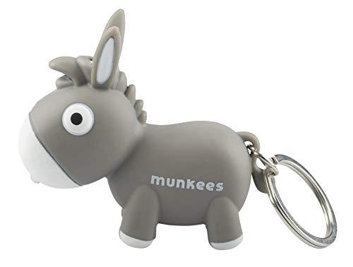 munkees Schlüsselanhänger mit LED Licht und Sound, Tier-Motiv Esel Fun Gadget, grau, 1110