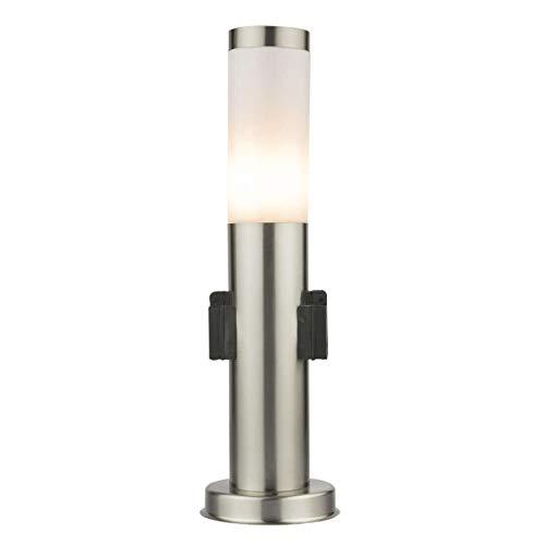 LED Standleuchte 45cm mit Steckdose Pollerleuchte Wegleuchte Sockelleuchte Gartenleuchte Außenleuchte Edelstahl S10K IP44 E27-230V LED Warmweiß