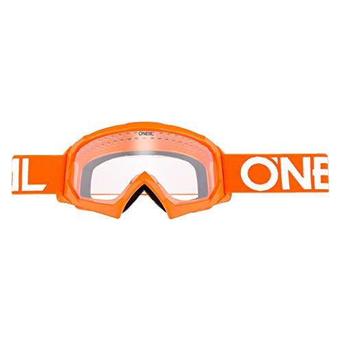 O'NEAL | Motocross-Brillen-Ersatzteile | Motorrad Enduro | Modernes Rahmendesign, Glas aus hochwertiger 1,2 mm-3D-Linse, 100% UV-Schutz | B10 Youth Goggle Solid | Orange Weiß | One Size