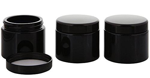 Violett-Glas Tiegel 100 ml m. Deckel, Leere Kosmetex Mironglas Creme-Dose, Kosmetik-Dose, 3x Deckel-Schwarz