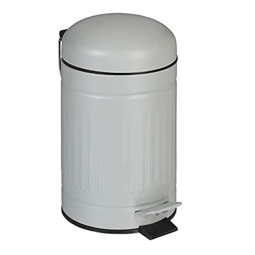 Relaxdays Papelera Baño, 3 litros, Tapa Descenso Automático, Cubo Extraíble, Bote Basura Pedal, Metalico, Cocina, Gris