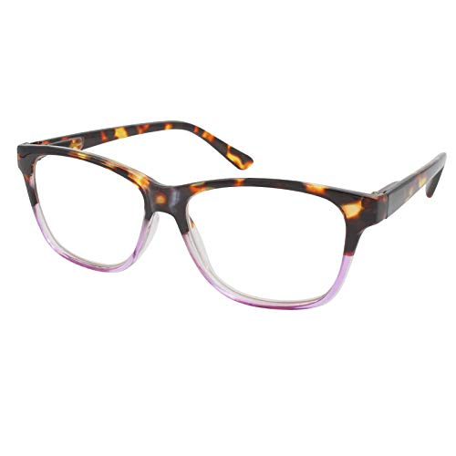 TBOC Gafas de Lectura Presbicia Vista Cansada - Graduadas +2.00 Dioptrías Montura de Pasta [Carey - Lila] de Diseño Moda para Hombre Mujer Unisex Lentes de Aumento para Leer Ver de Cerca