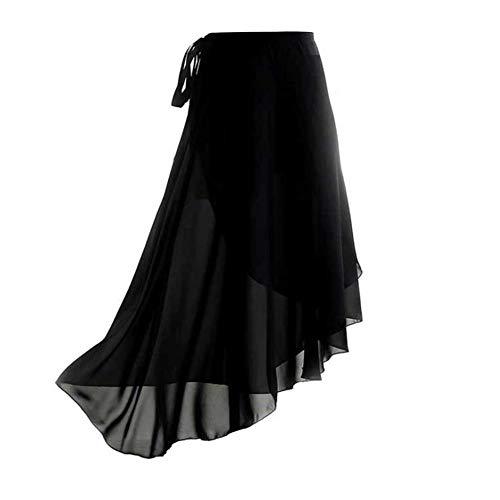 WXJWPZ Mujeres con Cordones asimétrico Transparente Gasa Abrigo Largo tutú Falda de Ballet Gimnasia Leotardo Fondos Traje de Baile Ropa de Baile para Adultos Black
