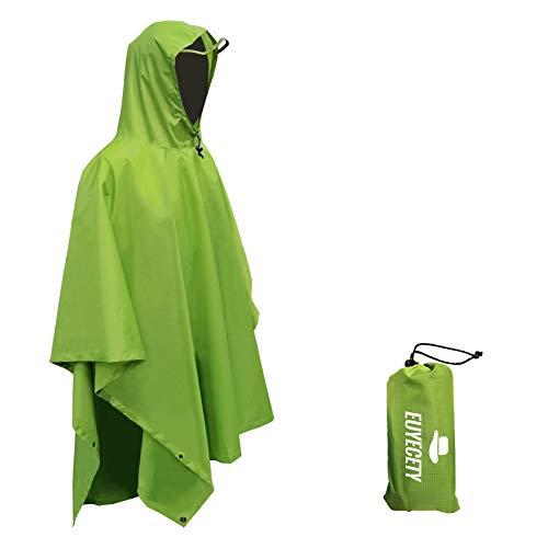 Euyecety Poncho de Lluvia Impermeable,3 en 1 Multifuncional Chubasquero Transpirable Ultrafino/Toldo Manta/Estera de Camping para Aire Libre Picnic Trekking Camping Senderismo (Verde)