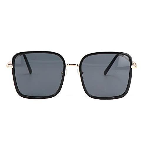 JINZUN Gafas de Sol cuadradas Espejo Unisex Gafas de Sol Anti-Ultravioleta al Aire Libre Moda Gafas de Tiro Callejero Oro Negro