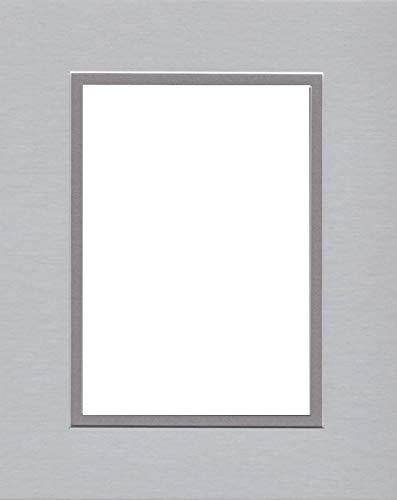 Pack of (2) 16x20 Double Acid Free White Core Picture Mats Cut for 11x14 Pictures in Nantucket Grey and Ocean Grey