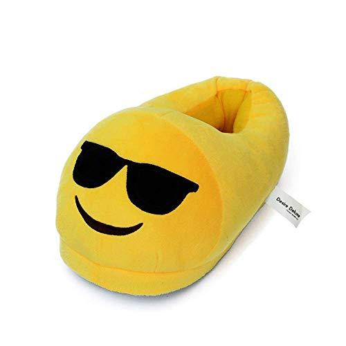 Desire Deluxe Sonnenbrille Lächelndes Gesicht Emoji Geschenk Hausschuhe – Super weiche Winter Hausschuhe aus Plüsch in Universalgröße für Mädchen, Jungen, Erwachsene, Universalgröße 35-43