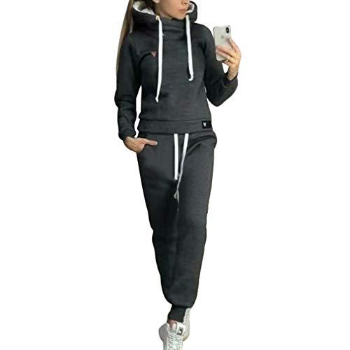 Chándal de 2 piezas para mujer, con manga larga, forro cálido, sudadera con capucha y pantalón deportivo de running, S-5XL Negro XXL