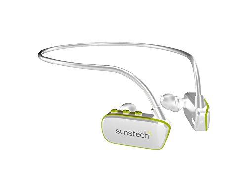 Sunstech ARGOS4GBWTGN - Reproductor MP3 deportivo resistente al agua, Blanco y Verde, 4 GB