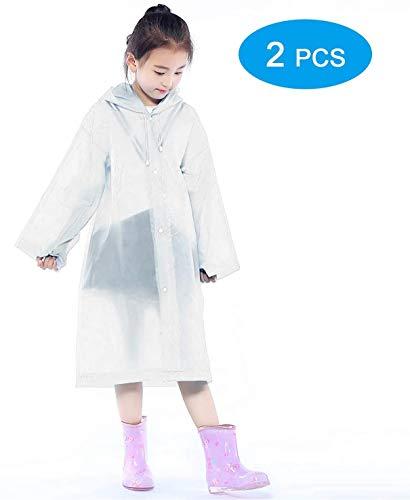 2 STKS Draagbare Regenjas, Waterdicht Duurzaam Transparante Regen Poncho met Kappen en Mouwen, Lichtgewicht Herbruikbare Regenbestendige Regenjas for child