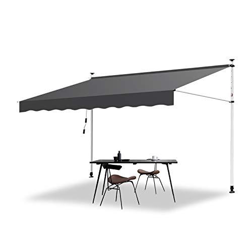 Hengda Markise Einziehbar Klemmmarkise Balkonmarkise Sonnenschutz ohne Bohren Höhenverstellbar (350 x 120 cm, Grau)