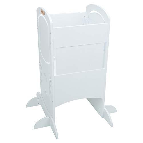 KiddyMoon Lernturm Für Kinder Baby Lernstuhl Montessori Küchenhelfer ST-002, Sperrholz/Weiß