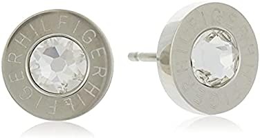 "Tommy Hilfiger Women's Stainless-Steel Stud Earrings with Etched""HILFIGER"" and Clear Center Crystal"