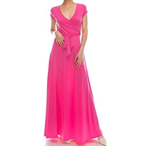 Janette Fashion Pink Classic Faux Wrap Cap Sleeve Maxi Dress