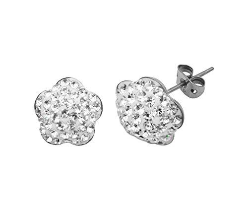 Tresor Paris White 10 mm Crystal Flower Shape Titanium Earrings 019523