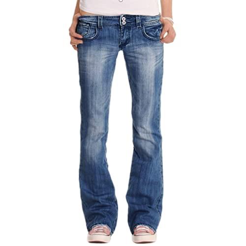 Pantalones Vaqueros de Mujer Retro Lavado Desgastado Denim Cintura Baja Pantalones de Pierna Recta Instastretch Relaxed Fit Plus Size 3XL
