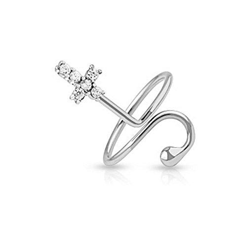 Bungsa® Nagelring Kreuz mit Stein Zirkonia Kristallen Cross Zehenring für Damen (Zehring Fussschmuck Fussring Toe-Ring Nail Ring Mittelring Nagelring biegbar verstellbar)