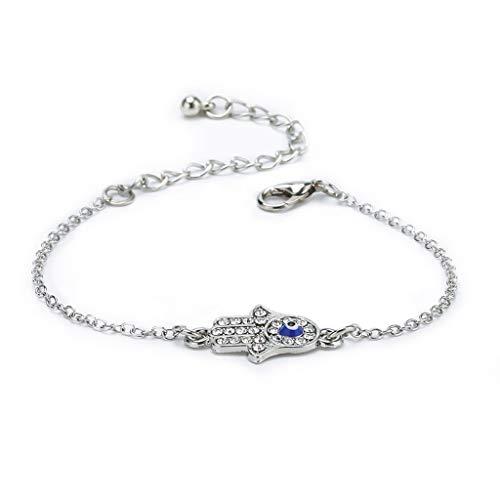 Qirun Turquía Fatima Hand Hamsa Charm Blue Evil Eye Protect Pulsera Good Luck Jewelry
