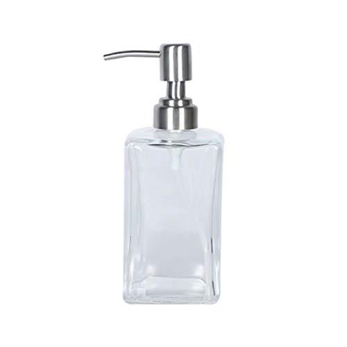 Hemoton Glazen Lege Zeepdispenser Fles Met Pomp Hervulbare Aanrecht Shampoo Lotion Pomp Dispenser Container Voor Badkamer Keuken 500Ml