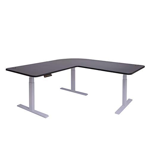 Mendler Eck-Schreibtisch HWC-D40, Bürotisch Computertisch, elektrisch höhenverstellbar Memory 178x178cm 84kg ~ schwarz, grau