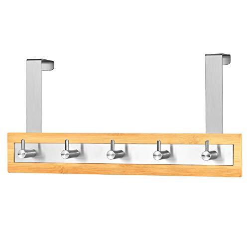 ToiletTree Products Bamboo Stainless Steel Towel Door Hooks